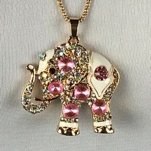 Betsey Johnson Necklace Elephant Pink White Animal